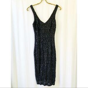 Sequinned, sleeveless, black minidress